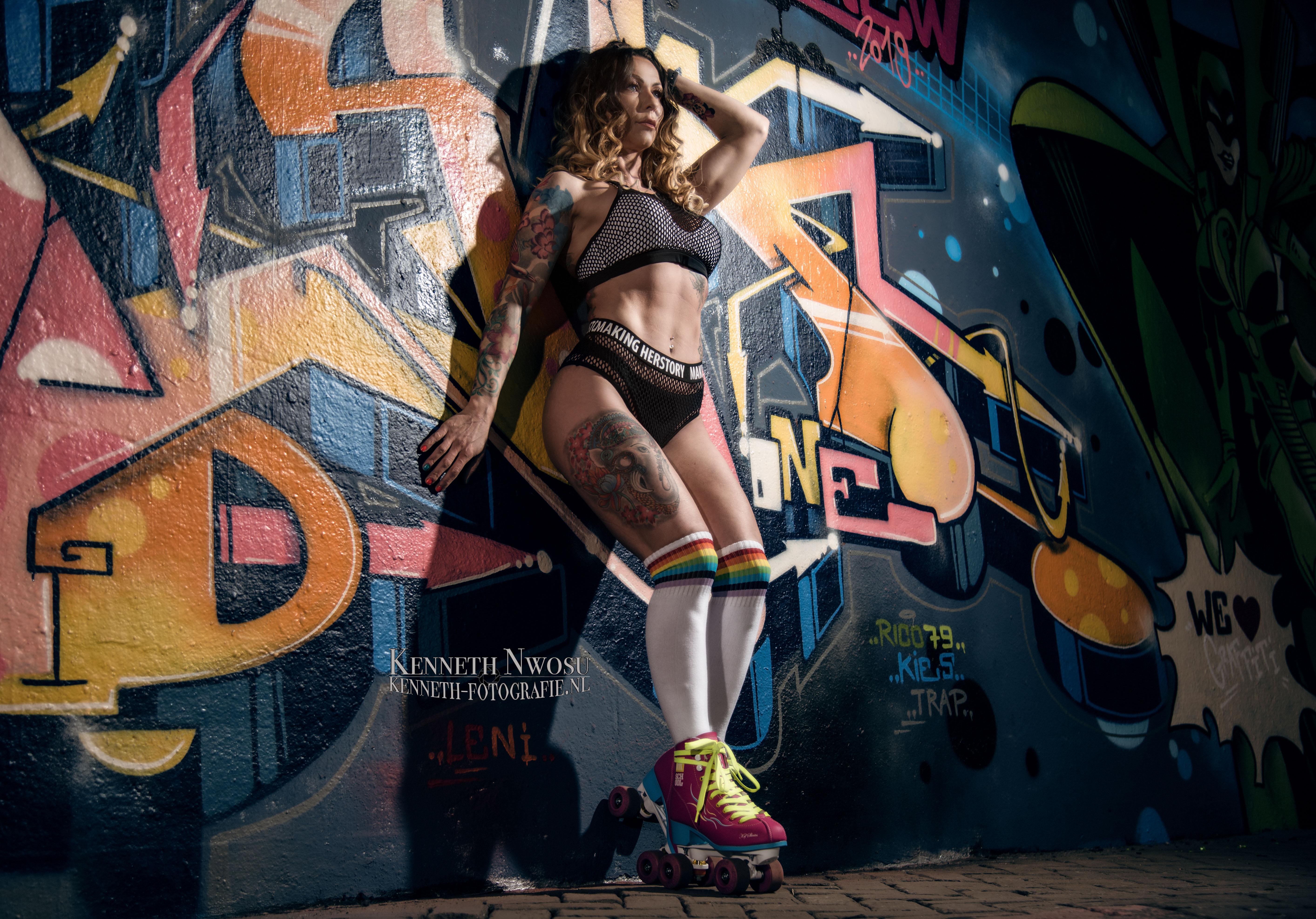 Rolschaats fotoshoot met Magdalena Saklak